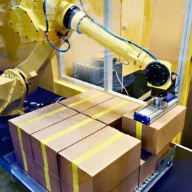 パレタイジングロボット+コンベアの導入